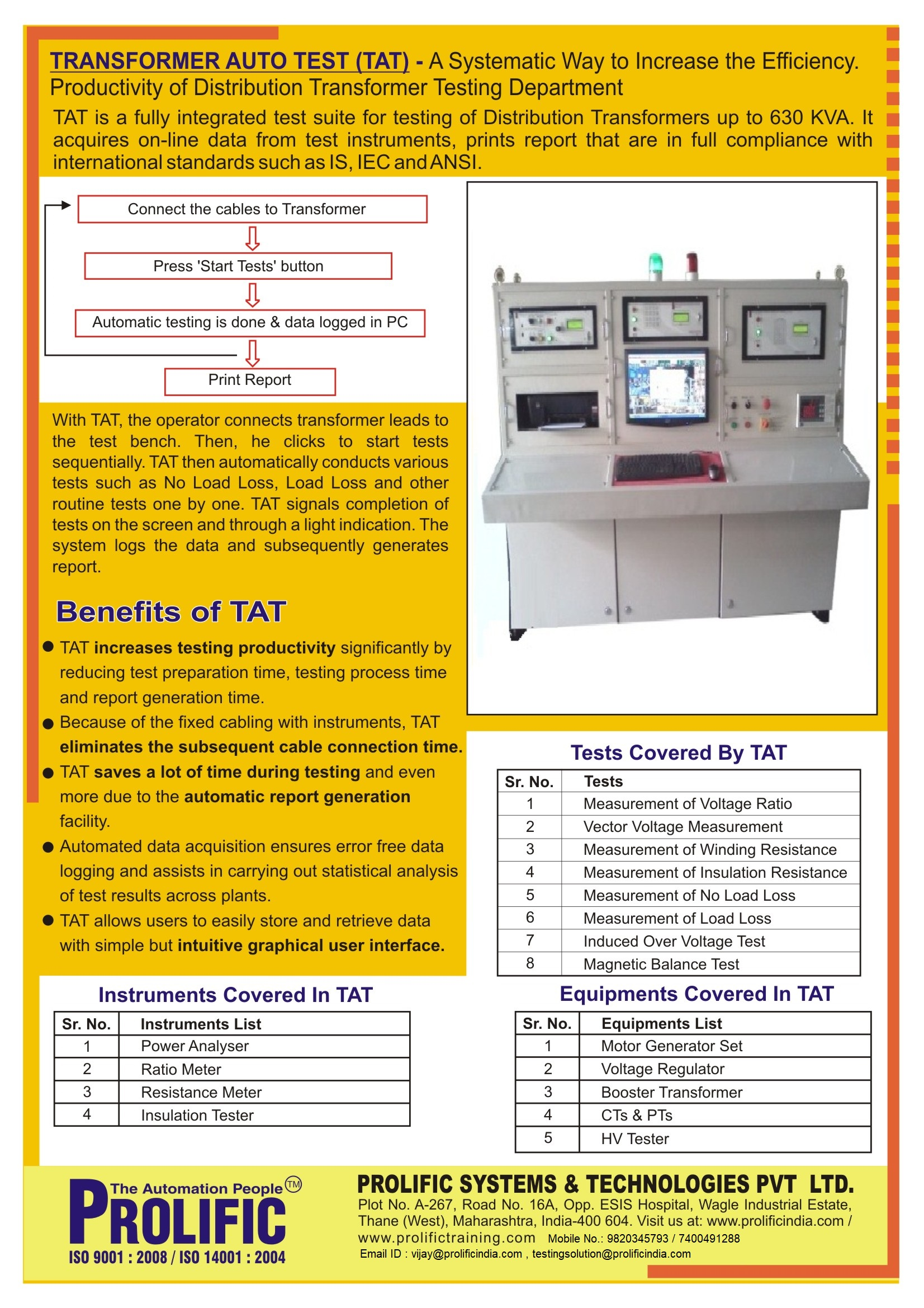 Transformer Auto Test Fully Integrated Automated Test